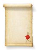 Rolle des alten gelb gefärbten Papiers mit einem Wachssiegel Stockbild
