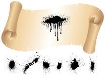 Rolle des alten Papier und Tinte Splat Sets Stockbild
