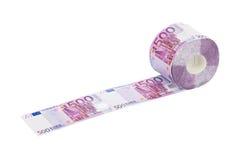 Rolle des Eurotoilettenpapiers Stockfoto
