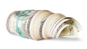 Rolle des Geldes auf der Seite Lizenzfreie Stockbilder