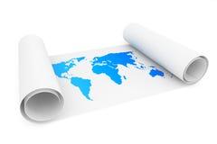 Rolle des Papiers mit Erdkarte lizenzfreie abbildung