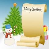 Rolle des Papiers mit Schneemann und Weihnachtsbaum Stockfotos