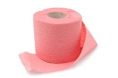 Rolle des Toilettenpapiers auf weißem Hintergrund stockbild