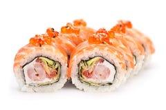 Rolle mit roten Fischen und Kaviar Lizenzfreies Stockbild