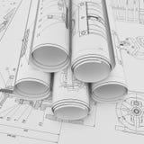 Rolle und flache technische Zeichnungen Stockfotos