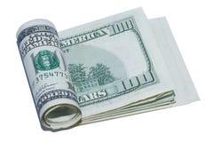 Rolle von hundert Dollarscheinen Stockbilder