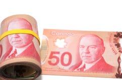 Rolle von 50 kanadischen Dollar stockbild