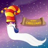 Rolle Weihnachtsmann des Vektorrocks n mit Pfeife, flippigem Bart und Sankt-Hut Weihnachtshippie-Plakathintergrund oder vektor abbildung