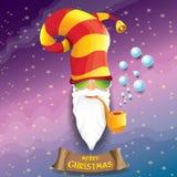 Rolle Weihnachtsmann des Vektorrocks n mit Pfeife, flippigem Bart und Sankt-Hut Weihnachtshippie-Plakathintergrund oder lizenzfreie abbildung