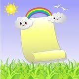 . Rolle zum Notieren mit den Wolken, ein Regenbogen Stockfoto