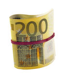 Rolled 200 euro banknotes Stock Images