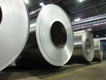 Rolled aluminum coils Stock Images