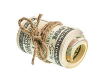 Rolled american dollar banknotes isolated on white Royalty Free Stock Photos