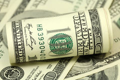 Rolled American dollar bills Royalty Free Stock Images