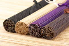 Rolled bamboo mats Royalty Free Stock Images