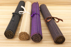 Rolled bamboo mats Stock Images