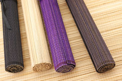 Rolled bamboo mats Stock Photo
