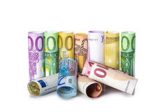 Rolled banknotes isolated on white background Royalty Free Stock Photos