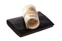 Rolled banknotes on a wallet Stock Photos