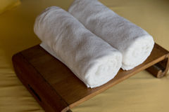 Rolled bath towels at hotel spa Stock Image