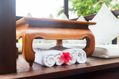 Rolled bath towels at hotel spa Stock Photography