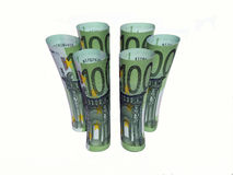 Rolled bills of 100 euros Stock Images