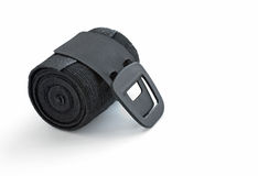 Rolled Black Elastic Bandage with Clip Fastener Stock Photo
