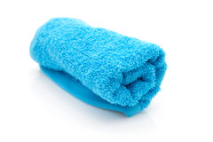 Rolled blue towel Stock Images