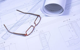 Rolled blueprint Royalty Free Stock Photography