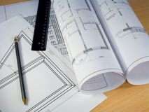 Rolled Blueprints 1 Royalty Free Stock Photography