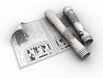 Rolled blueprints. 3d illustration of rolled blueprints over white background Royalty Free Stock Photography