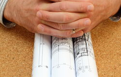 Rolled blueprints Stock Photo