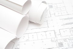 Rolled blueprints Royalty Free Stock Photo