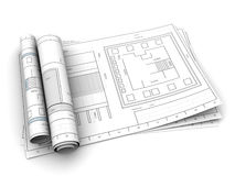 Rolled blueprints. 3d illustration of rolled drawings over white background Stock Photos