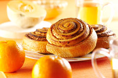 Rolled bread product with chesnut Royalty Free Stock Image