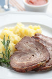 Rolled brisket with mashed potato Royalty Free Stock Photography
