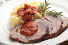 Rolled brisket with mashed potato Stock Images
