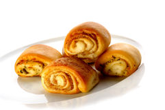 Rolled cakes. Filled with chestnut cream Stock Images