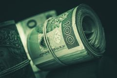 Rolled Cash Polish Zloty Royalty Free Stock Image