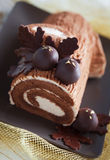 Rolled chestnut cream cake Stock Photography