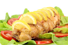 Rolled chicken meat stock images
