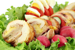 Rolled chicken meat Stock Photo
