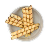 Rolled Chocolate Wafers In Bowl Top View Royalty Free Stock Images