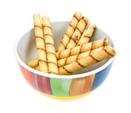 Rolled Chocolate Wafers In Bowl Side View Royalty Free Stock Photography