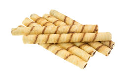 Rolled Chocolate Wafers On White Background Royalty Free Stock Photography