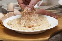 Rolled chops in breadcrumbs Royalty Free Stock Images