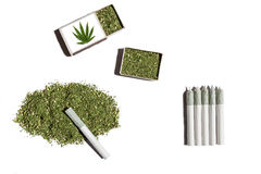 Rolled cigarettes with cannabis. Stock Photo