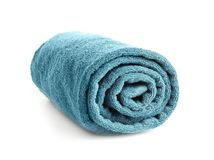 Rolled clean terry towel. On white background Royalty Free Stock Photos