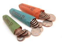 Rolled coins Royalty Free Stock Images