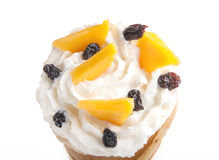 Rolled of cone pancakes with mango and raisins Stock Photo
